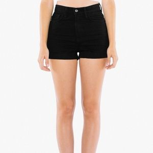 American Apparel Denim High-Waist Cuff Shorts